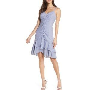 CHELSEA28 Cotton Stripe Ruffle Ruched Hi/Lo Dress